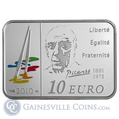 2010 10 Euro Silver Series of French Painters Pablo Picasso Obverse
