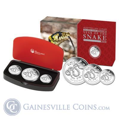 2013 3 Coin Proof Silver Australian Lunar Year of the Snake Set