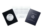 2007-W American Eagle 1 ounce Burnished Silver Bullion in blue presentation case with certificate.