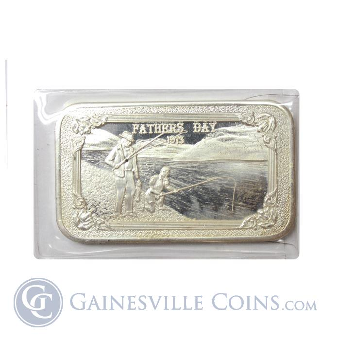 Image Showcase for 1973 Fathers Day 1 oz Silver Art Bar - Mother Lode Mint (.999 Pure)