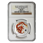 2012 1/2 oz Silver Australian Year of the Dragon Colorized NGC MS69