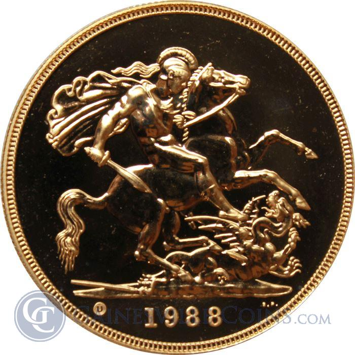 Image Showcase for 1988 Great Britain 5 Pounds (5 Sovereigns) Proof Gold Coin (1.177 OZ AGW)