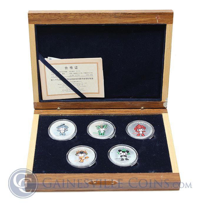 Image Showcase for 2008 Beijing Olympics 1 oz Silver Mascots 5-Coin Set