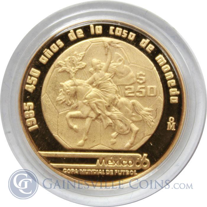 Image Showcase for 1985-86 Mexico 1/4 oz Proof Gold World Cup 250 Peso Coin