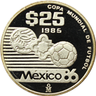1985-86 Mexico 1/4 oz Proof Silver World Cup 25 Peso Coin - With Box and COA