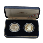 1987 France 100 Franc Lafayette Piedforts Silver Proof and Uncirculated 2-Coin Set (With Box and COA)