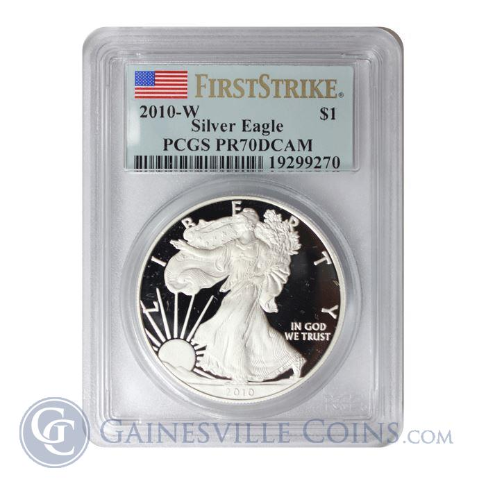 Image Showcase for 2010-W 1 oz American Silver Eagle PCGS PR70 DCAM (First Strike)
