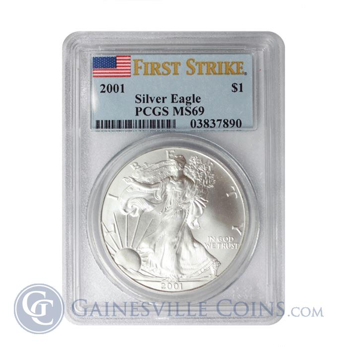 Image Showcase for 2001 1 oz Silver American Eagle PCGS MS69 (First Strike)