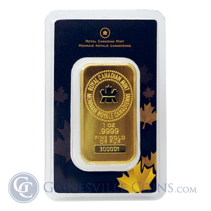 Image Showcase for 1 oz Royal Canadian Mint RCM Gold Bar (.9999 Pure In Assay Card)