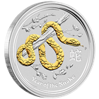 2013 Australian Year of the Snake - 1 oz Gilded Silver Coin