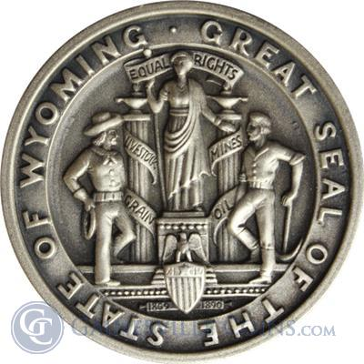1965 75th Anniversary Go Wyoming Silver Art Round 190 oz of Silver