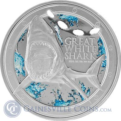 2012 1 oz Silver Great White Shark  New Zealand Mint