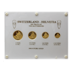 1987 4-Coin Proof Gold Switzerland Helvetia Set - The Matterhorn
