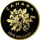 1986 Canadian $100 Proof Gold - Peace (.50 oz of Gold)
