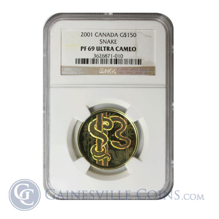 Image Showcase for 2001 Proof Gold Canadian $150 Lunar Snake Hologram NGC PF69 (.32 oz of Gold)