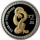 2013 Gilded Snake 1 oz Proof Silver Lunar Coin: New Zealand Mint (Mintage of ONLY 2013 Coins!)