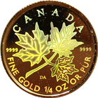2001 1/4 oz Gold Canadian Maple Leaf Hologram