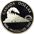 1986 Canadian Centennial Railway Proof Silver Dollar - With Box & COA (.375 oz of Silver)
