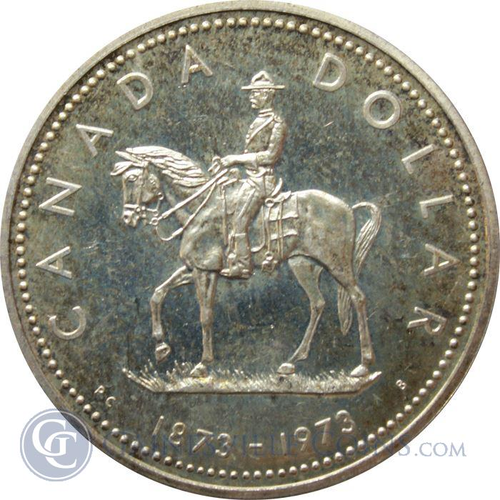Image Showcase for 1973 Canadian Mountie Silver Dollar (.375 oz of Silver)