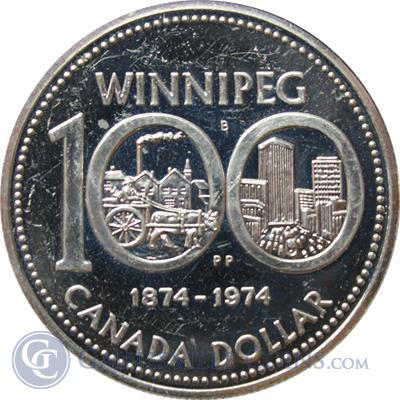 1974 Canadian Winnipeg Silver Dollar 375 oz of Silver