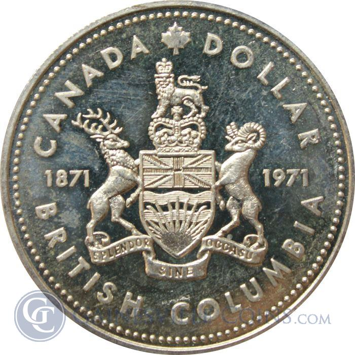 Image Showcase for 1971 Canadian British Columbia Silver Dollar (.375 oz of Silver)