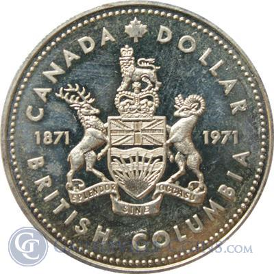 1971 Canadian British Columbia Silver Dollar 375 oz of Silver