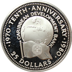 1980 Belize $25 Proof Silver Coin - 10th Anniversary of Caribbean Development Bank (.4867 ASW)