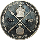 1983 Belize $25 Proof Silver Coin - 30th Ann Queen Elizabeth Coronation (.4867 ASW)