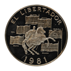 1981 Panama 20 Balboas Proof Silver Coin - El Libertador (1.9 oz of Silver)