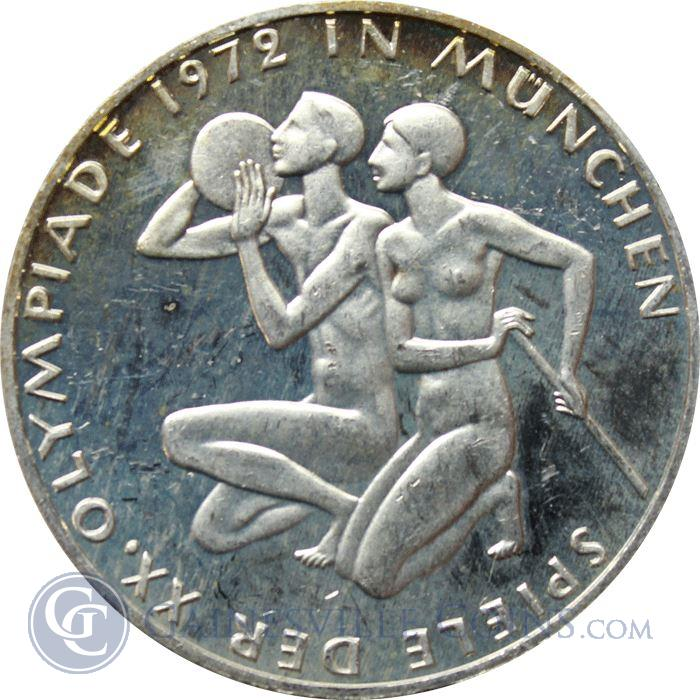 Image Showcase for 1972 J German 10 Mark Proof Silver Coin - Munich Olympics  (.311 oz of silver)