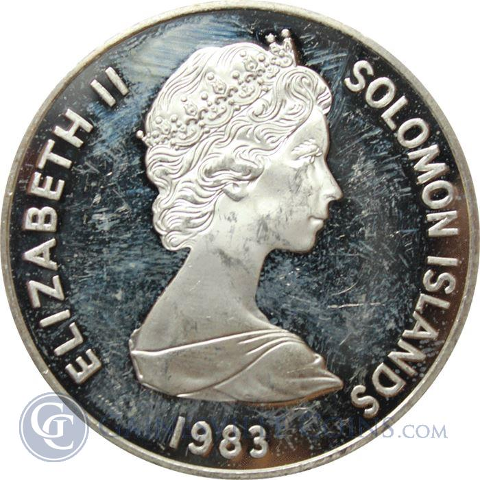 Image Showcase for 1983 Solomon Islands Proof Silver Coin - 30th Anniversary Queen Elizabeth Coronation (.4867 ASW)