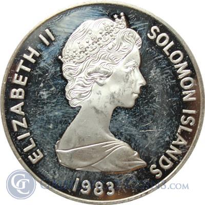 1983 Solomon Islands Proof Silver Coin 30th Ann Queen Elizabeth  Obverse