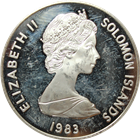 1983 Solomon Islands Proof Silver Coin - 30th Anniversary Queen Elizabeth Coronation (.4867 ASW)