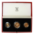1986 Great Britain St George Scottish Thistle Proof Gold Sovereign 3-Coin Set (.8242 oz of Gold)