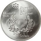 1976 Canadian $5 Dollar Silver Coin - Montreal Olympics (.7226 oz of Silver)