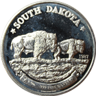 1987 State of South Dakota 1 oz Silver Buffalo .999 Pure