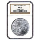 2001 D Buffalo Commemorative Silver Dollar NGC MS70