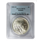 2001 D Buffalo Commemorative Silver Dollar PCGS MS70