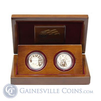 2007 W 10th Anniversary Platinum American Eagle 2 Coin Set