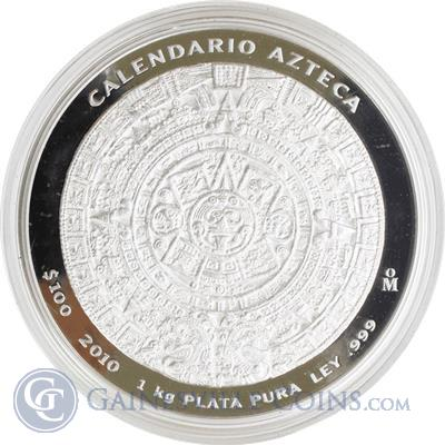 2010 Mexico Aztec Calendar 1 Kilo Silver Proof Like Coin