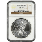 2013 1 oz American Silver Eagle NGC MS69