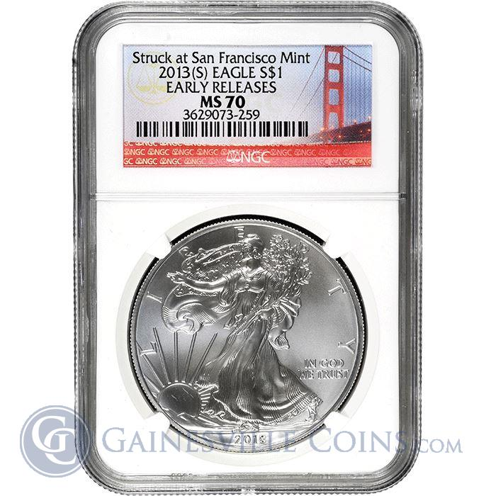 Image Showcase for 2013-S 1 oz American Silver Eagle NGC MS70 Early Release - San Francisco Mint (Bridge Label)