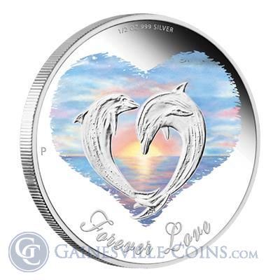 2013 1/2 oz Australia Proof Silver Forever Love Dolphin