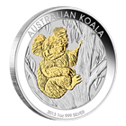 2013 1 oz Australian Gilded Silver Koala Coin with Box and COA