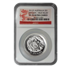 2012 Perth Mint High Relief Silver Dragon NGC PF70