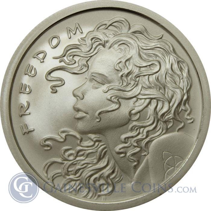 Image Showcase for Freedom Girl Silver Bullet Silver Shield | 1 oz Silver Round (.999 Pure)