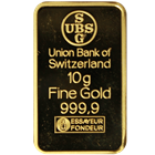10 gram Union Bank Of Switzerland Gold Bar (.9999 Pure)