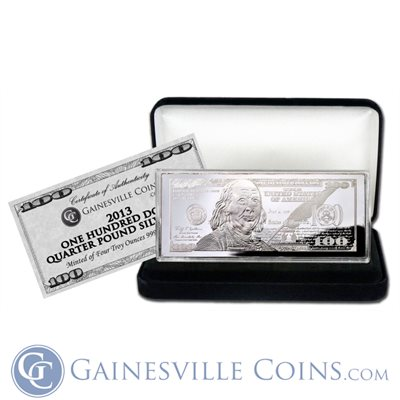 2013 4 oz $100 Silver Bar With Box  COA .999 Fine Silver