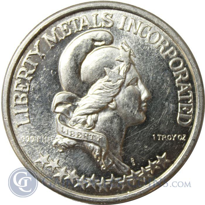 Image Showcase for 1974 Liberty Metals Incorporated 1 oz Silver Art Round - Provo Utah (.999 Pure)