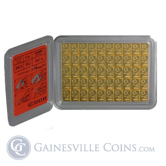 Image Showcase for 50 X 1 Gram Divisible Gold Valcambi CombiBar - (1.6075 oz of Gold) With Assay Card